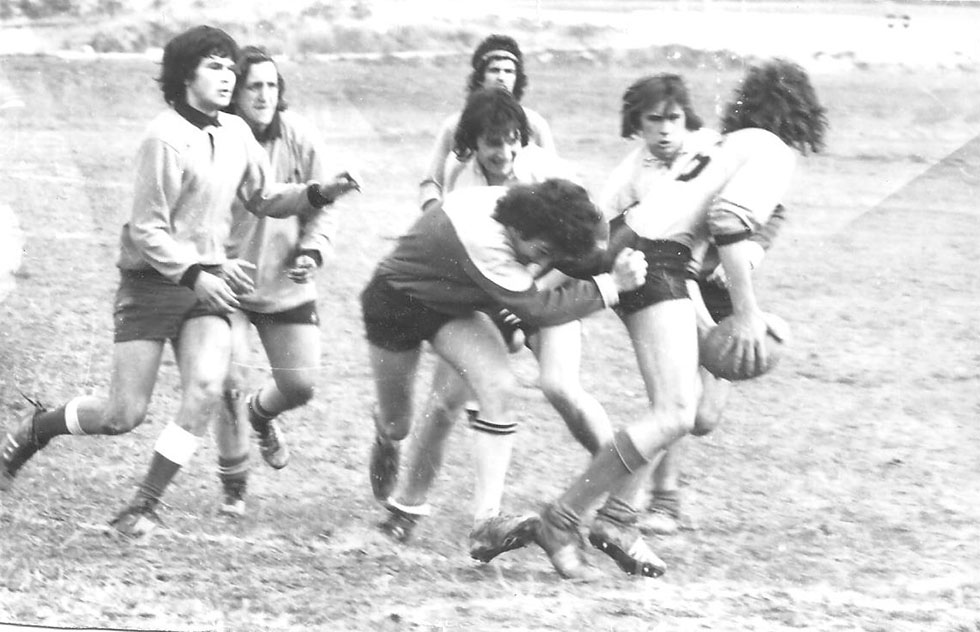 030 Valabre 13 mars 1974 match contre Vallabre. Michaud à la balle il va se faire plaquer, derrière moi et Alfonsi, au fond Mickey