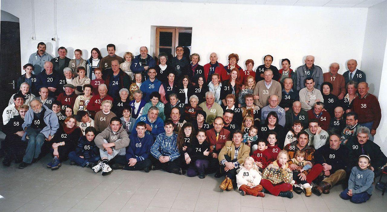 Un large échantillon de la population de Réotier en à l'occasion d'une fête pour le passage au XXIème siècle