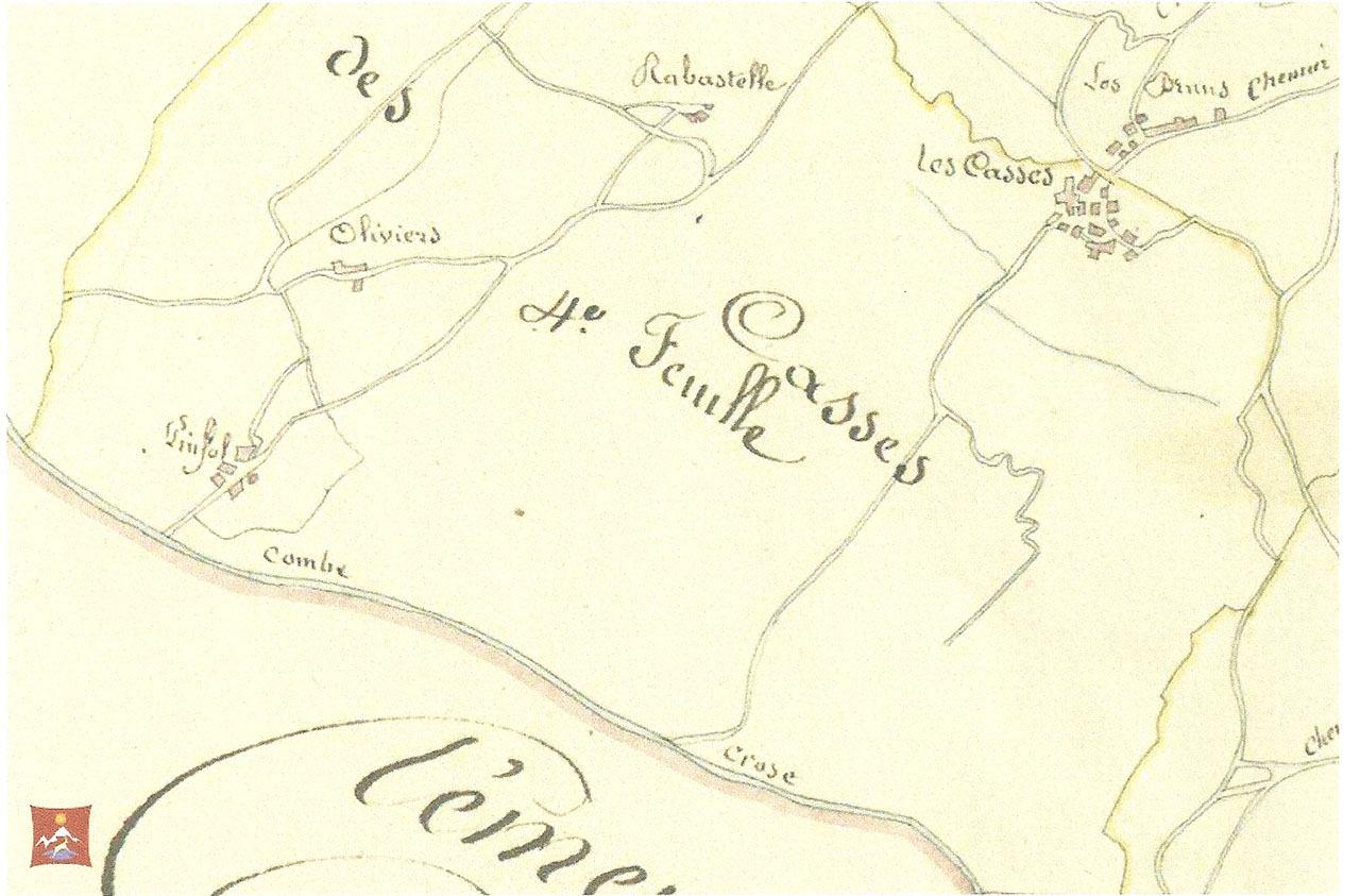 Cadastre 1833 : Trois hameaux pour Pinfol, deux pour les Casses.