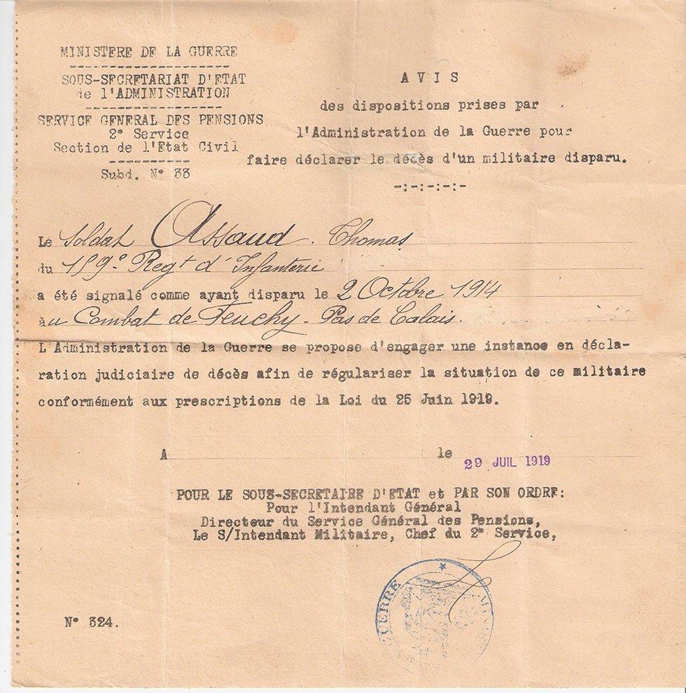 Acte de décès de Thomas Assaud oncle de Marthe Escoffier des Garniers, et frère de Jean Baptiste, mort en octobre 1914 à Feuchy.