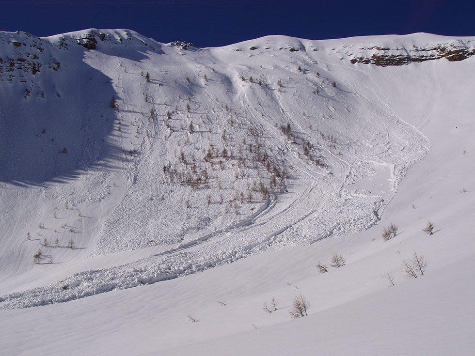 Avalanche habituelle du versant du Clot de la Tête de Fouran.