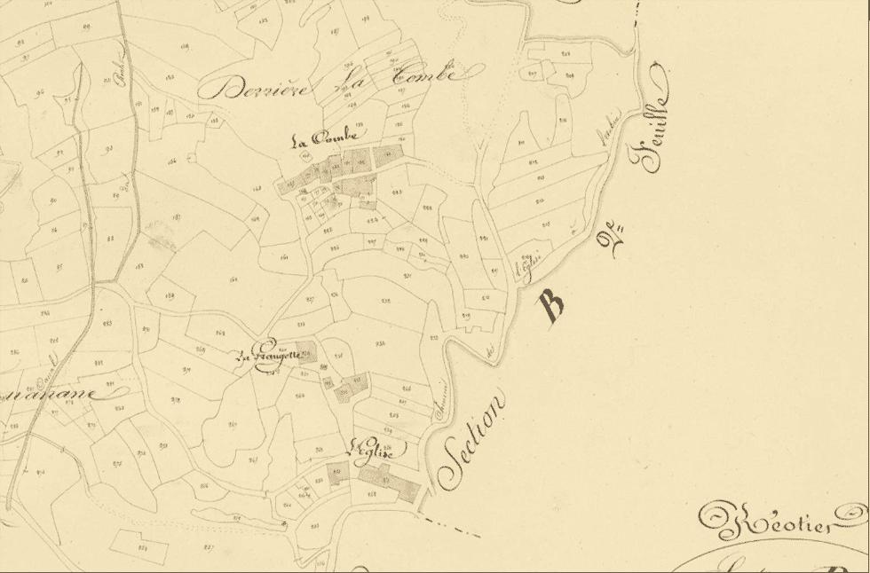 Réotier, site primitif de la commune sur le cadastre de 1833