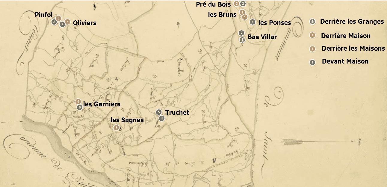 carte des toponymes employant le mot « maison »