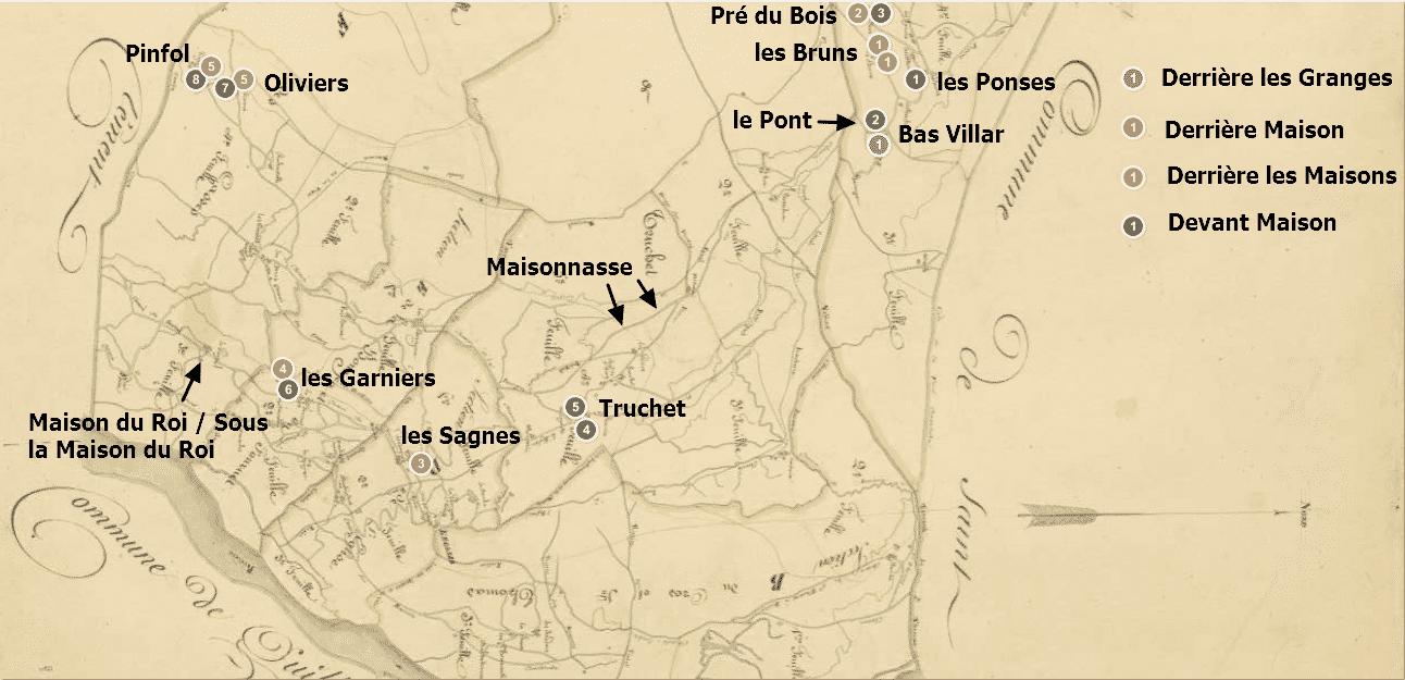 carte augmentée des toponymes avec « maison »