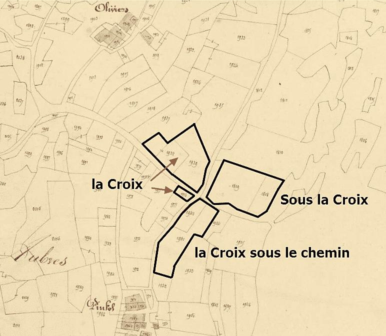 la croix entre Pinfol et Oliviers