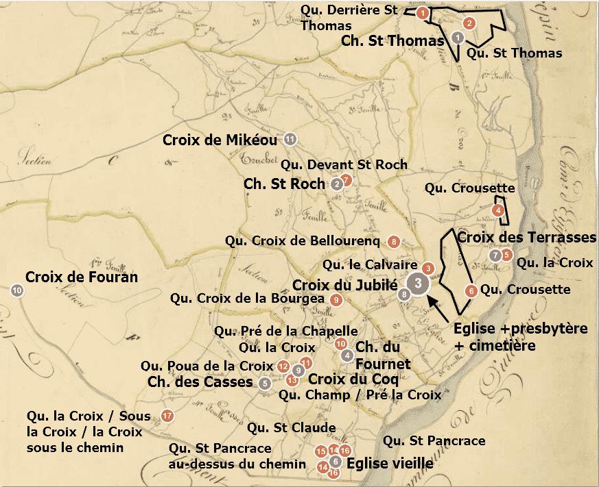édifices et toponymes religieux sur la commune en 1833